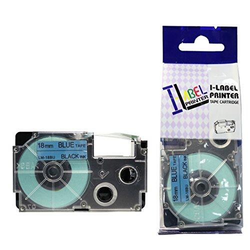 LM Tapes - Casio CW-L300 18mm Black on Blue Compatible Label Tape for Casio CWL300 EZ Label Printer