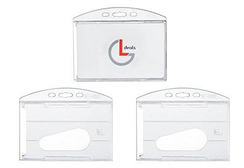 Horizontal Hard Plastic Rigid Card Holder ID Badge Holder Pack of 3
