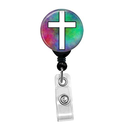 Cross - White On Plasma Christian Religious Symbol - Retractable Badge Reel - ID Name Tag Custom Badge Holder Black Badge Reel Spring Pinch Clip