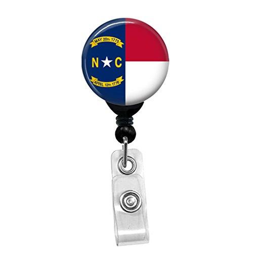 North Carolina Flag Retractable Badge Reel - ID Card Name Tag Custom Badge Holder Black Badge Reel with Belt Slide Clip