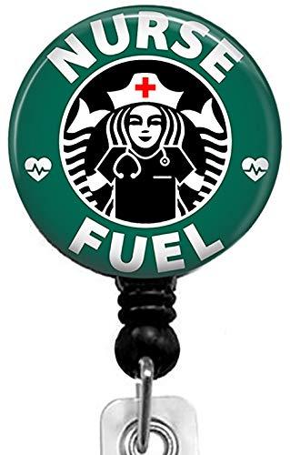 Nurse Fuel-Coffee Series Retractable Badge Reel with Alligator Clip,Name Nurse ID Card Badge Holder Reel Decorative Custom Badge Holder