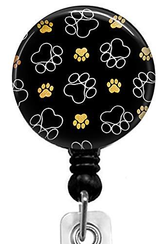 Puppy Paw Print Retractable Badge Reel with Alligator Clip,Name Nurse ID Card Badge Holder Reel Decorative Custom Badge Holder