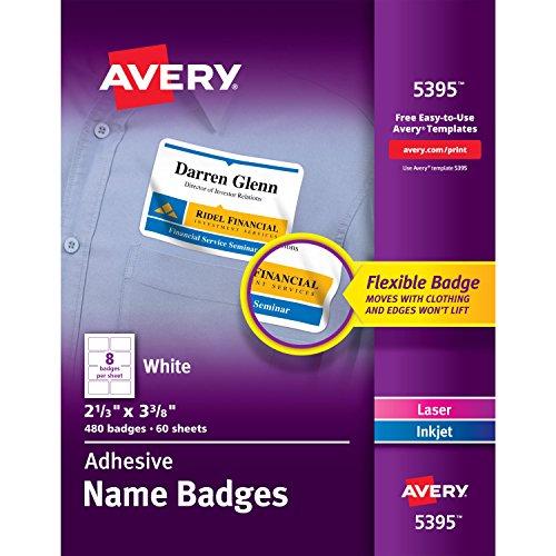 Avery Self-Adhesive Name Tag No Curl Flexible Name Badge Box of 480 Template 05395