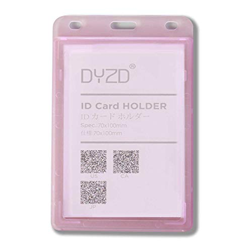 DYZD ID Badge Holder Plastic ID Card Holder ID Holder Without Lanyard Double Sided Transparent ID Badge Card Holder Pack of 6 PinkBadge Holders