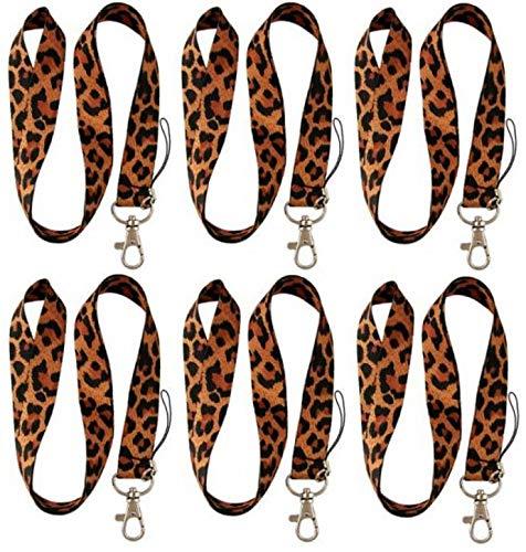 Leopard Print Lanyard Keychain Car Keys Neck ID Badge Clip 6 Pack