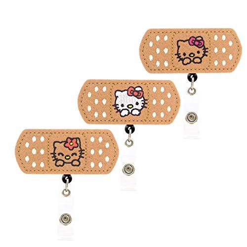 YOROYAL 3 Pack Cute Cat Badge Reel Alligator Clip Retractable ID Badge Holder