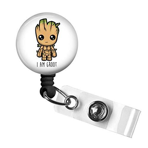 I am Groot Retractable Badge Reel,Nurse ID Badge Holder with Alligator Clip24 inch Nylon CordDecorative Name Badge Holder