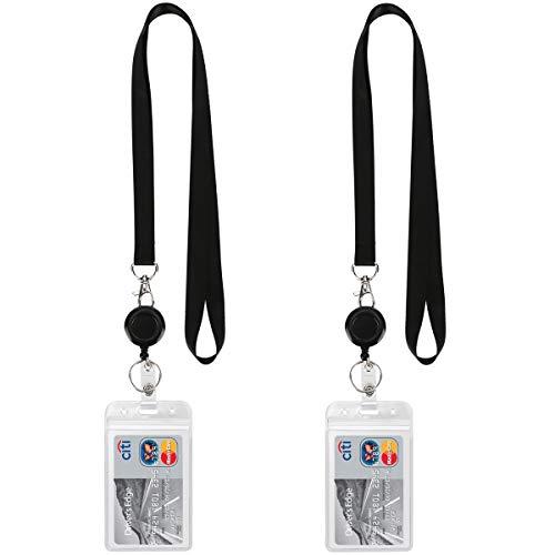 Lanyard Black Retractable Badge Reel with ID Badge Holder with Badge Reel Clip for Card Badges Holders Vertical Punched Zipper Waterproof 2 Pack