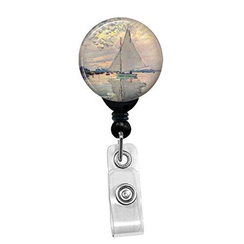 Claude Monet - Sailboat - Retractable Badge Reel - ID Name Tag Custom Badge Holder Black Badge Reel with Spring Pinch Clip