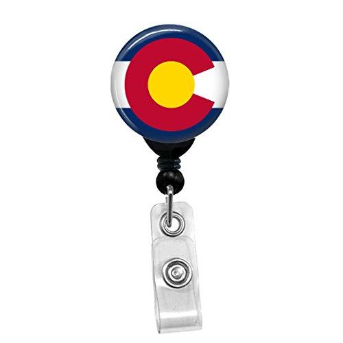 Colorado Flag Retractable Badge Reel - ID Card Name Tag Custom Badge Holder Black Badge Reel with Spring Pinch Clip