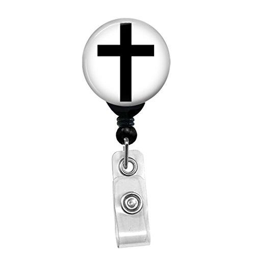 Cross - Black On White Christian Religious Symbol - Retractable Badge Reel - ID Name Tag Custom Badge Holder Black Badge Reel Belt Clip