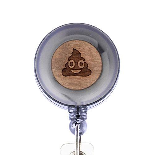 Poop Emoji Badge Holder with Retractable Reel and Clip Laser Engraved Wood Design Custom Badge Holder Corporate Gifts
