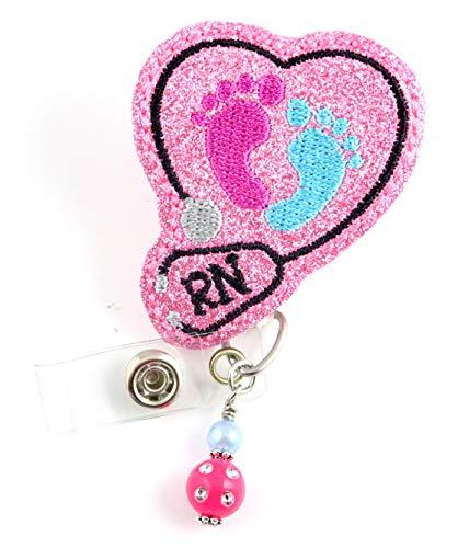 RN Baby Feet Vinyl Glitter - Nurse Badge Reel - Retractable ID Badge Holder - Nurse Badge - Badge Clip - Badge Reels - Pediatric - RN - Name Badge Holder
