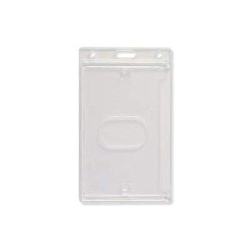 Vertical Clear Vinyl Rigid Hard Plastic ID Badge Holder - 50 Per Pack - 726-CSN