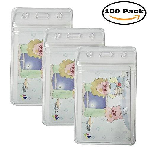 HOSL 100 PCS Waterproof Clear Plastic Vertical Name Tag Badge ID Card Holders