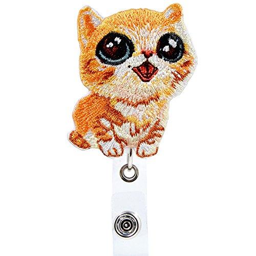 Qinsuee Cute Cat Retractable Badge Holder ID Name Badge Reel with Swivel Alligator Clip