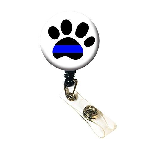 Wigspedia Retractable Name ID Badge Holder ReelID Badge Holder - Police Thin Blue Line Flag Alligator Clip Thin Blue Line - Paw