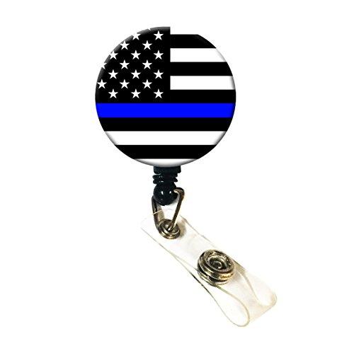Wigspedia Retractable Name ID Badge Holder ReelID Badge Holder - Police Thin Blue Line Thin Blue Line Flag Badge