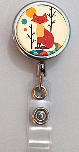 BlackKey Vintage Rainbow Fox Pattern Retractable ID Card Badge Holder Reel with Lanyard Belt Clip -72