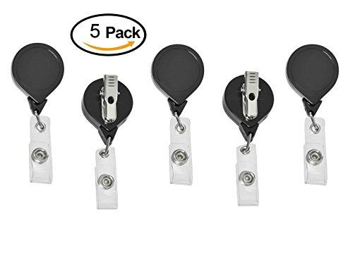 No Twist Retractable Badge Holder ID Card Holder Reel with SWIVEL-BACK Alligator Clip Black Pack of 5
