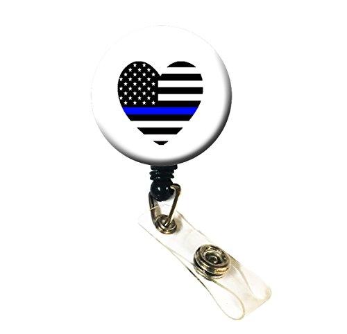Wigspedia Retractable Name ID Badge Holder ReelID Badge Holder - Police Thin Blue Line Heart Alligator Clip Heart Flag