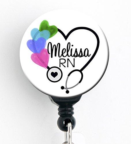Retractable Badge Reel - Colorful Hearts Steth - Personalized Name - Badge HolderRNLPNRTNurse GiftStudent Nurse