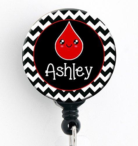 Retractable Badge Reel - Phlebotomist - Personalized Name - Badge HolderPhlebotomyNurse BadgeKawaii Blood Drop