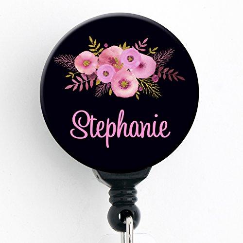 Retractable Badge Reel - Pink Floral Black Bkgd - Personalized Name - Badge HolderNurse GiftTeacher GiftStocking Stuffer