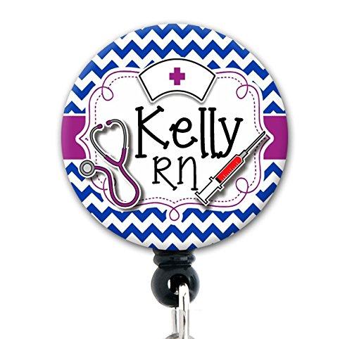 Retractable Badge Reel - Royal Blue Nurse Tools Chevron - Personalized Name - Badge Holder