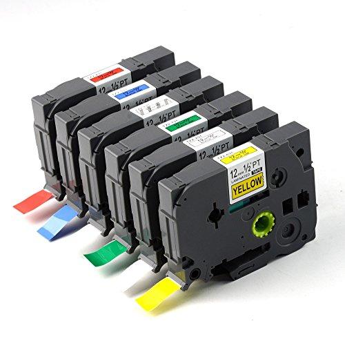 SXCtech - 6 Pack Color Combo Compatible Brother P-touch Label Maker Tape TZ TZe Standard Laminated Tapes 12 Inch X 262 FTCombo Set Replacement TZe-131 TZe-231 TZe-431 TZe-531 TZe-631 TZe-731