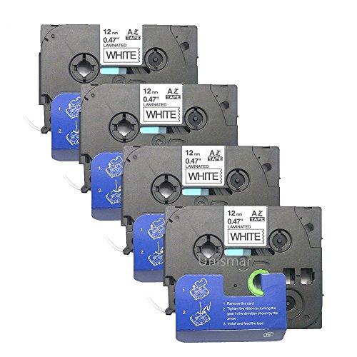 Unismar 4 Pack Compatible TZe-231 TZe231 TZ-231 TZ231 Laminated Tape Black on White 12mm 12 Width 8m 262ft Length for Brother P-Touch Label Makers Printers US-TZe231 4PK
