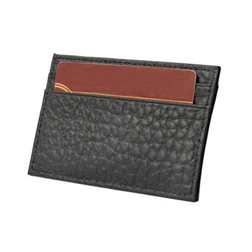 Lanhui_Fashion Women Men Leather Wallet Clutch Card Holder Zero Wallet Key Bag Professional Business Card Holder A Black
