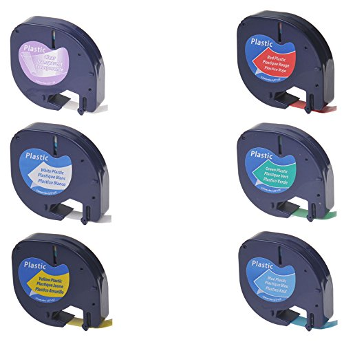 NineLeaf Black on ClearWhiteYellowRedGreenBlue Tape Compatible for Dymo LetraTag 16952 91331 91332 91333 91334 91335 Plastic Label 12mm x 4m use in Dymo LetraTag Label Makers Printers- 6 Pack