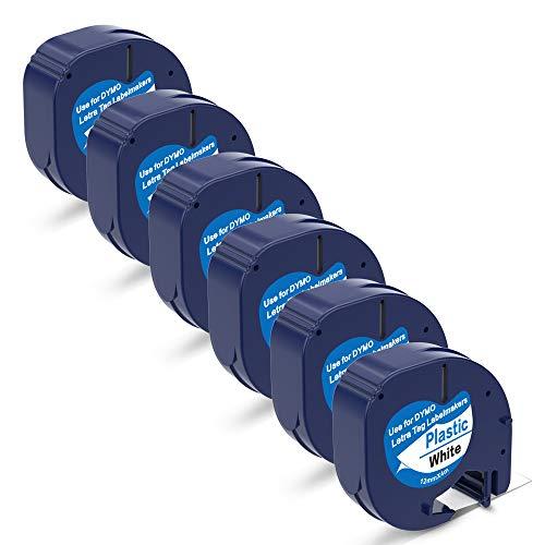P PUTY Compatible Label Tape Letratag Refills White Plastic Label Tape 91331 S0721660 91201 12mm Black on White for DYMO Label Maker LetraTag Plus LT100H LT100T QX50 12 Inch x 13 Feet 6-Pack