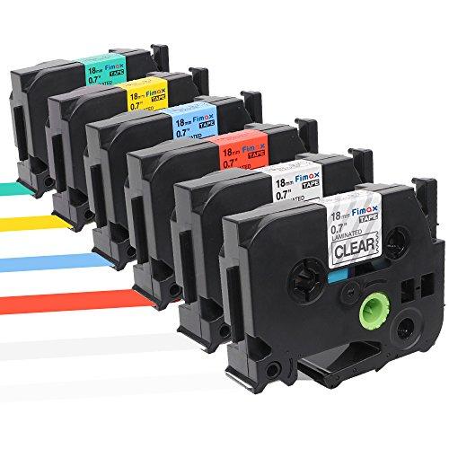 Fimax 6 Pack TZe-141 TZe-241 TZe-441 TZe-541 TZe-641 TZe-741 Color Combo Set Standard Laminated Label Tape Compatible For Brother P-Touch Label Maker 07 inch 262 feet 18mm8M