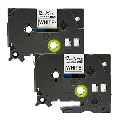 2 Pack NEXTPAGE 12x262 12mmx8m Black on White New P-touch Label Tape Compatible for Brother TZe-231 TZe231 TZ-231 TZ231