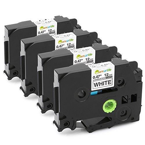 4 Pack Compatible Laminated TZe-231 TZ-231 Label Tape for Brother PT-D210 PT-D200 PT-1750 PT-1880 12mm x 8m TZe-231 Black on White
