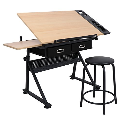 ZENY Height Adjustable Drafting Draft Desk Drawing Table Desk Tiltable Tabletop wStool and Storage Drawer for Reading Writing Art Craft Work Station