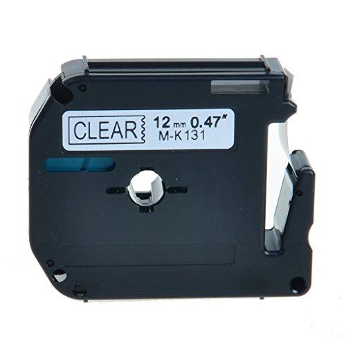 NineLeaf 1 Pack Compatible Label Tape for Brother PT-65 PT-90 Printers M-K131 MK131 Black on Clear 12inch 12mm