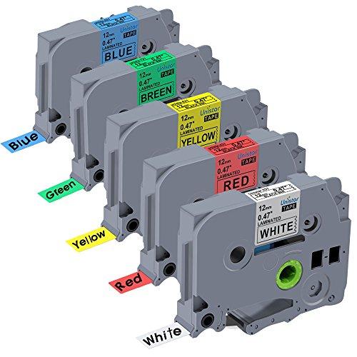 Unistar 5 Pack Standard Laminated Label Tape Compatible for Brother P touch TZe TZ Cartridge TZe-231 TZe-431 TZe-531 TZe-631 TZe-731 047 Inch 12mm x 8m 262ft