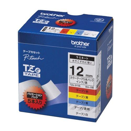 Brother TZe tape laminate tape TZe-131231431531631 12mm 5 types assortment pack TZe-31VA japan import
