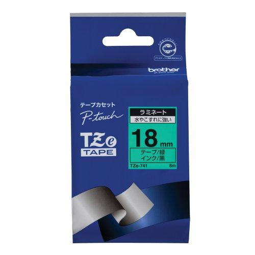 Brother TZe tape laminate tape green  black 18mm TZe-741 japan import