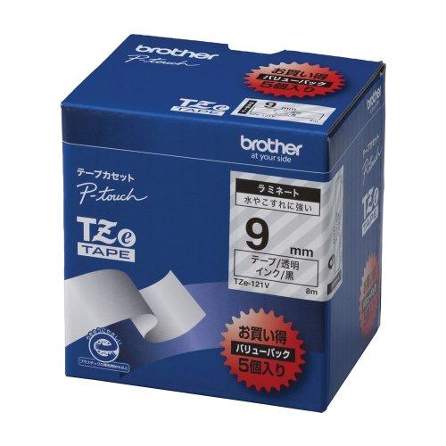 Brother TZe tape laminate tape transparent land  surplus 9mm 5 pack of TZe-121V japan import