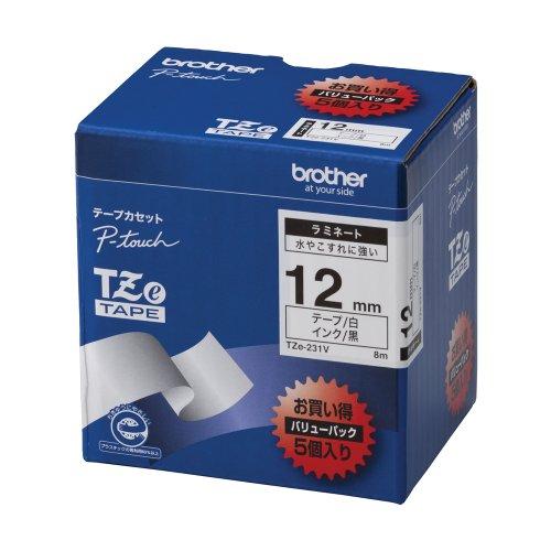 Brother TZe tape laminate tape white  black 12mm 5 pack of TZe-231V japan import
