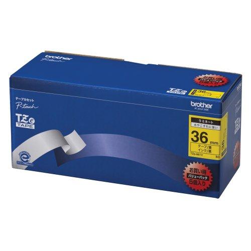 Brother TZe tape laminate tape yellow ground  black 36mm 5 pack of TZe-661V japan import