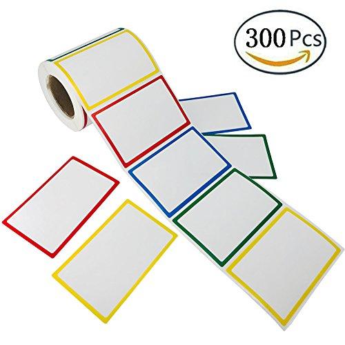 SUNHE 300pcs Plain Name Tag Labels Colorful Border Name Tag Stickers 35 x 225 4 Colors