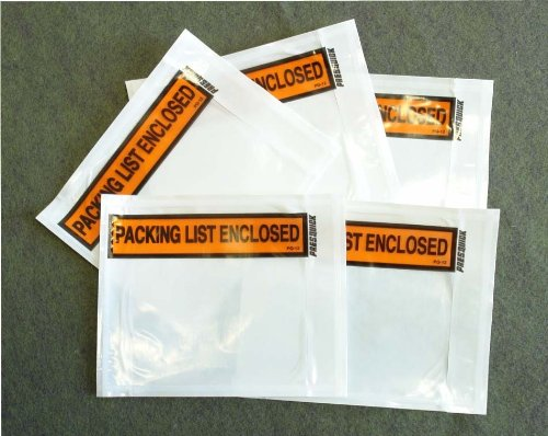 1000 pieces 45x55 Clear with PACKING LIST ENCLOSED printing pouch envelope bag for invoice packing slip