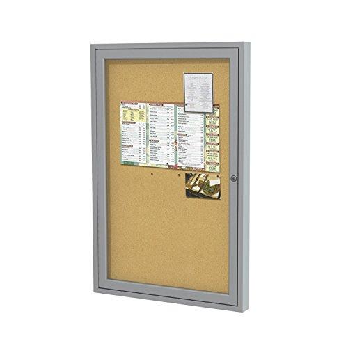 36x24   1-Door  Satin Aluminum Frame Enclosed Bulletin Board - Natural Cork