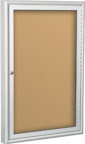 BestRite 2 x 15 Feet Outdoor Enclosed Bulletin Board Cabinet Natural Cork 94PSA-O-01