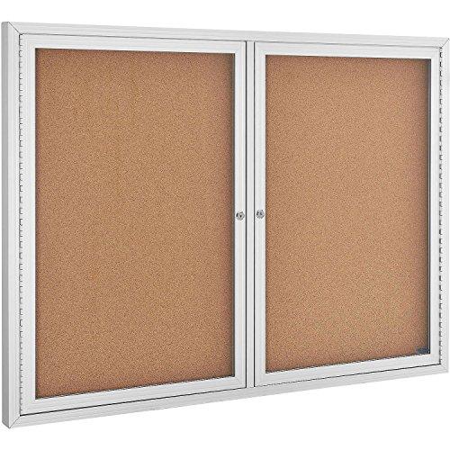 Enclosed Bulletin Board - Cork - Aluminum Frame - 48 x 36 - 2 Door